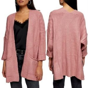 Topshop Long Cardigan in Rose